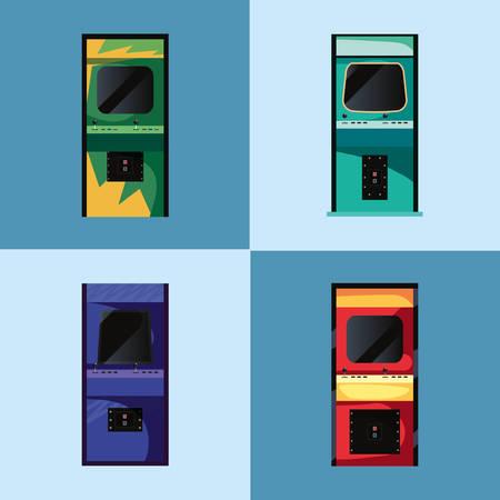 arcade machine video game retro collection vector illustration design Иллюстрация