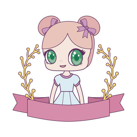 cute little doll with ribbon and branches of leafs vector illustration design Ilustrace