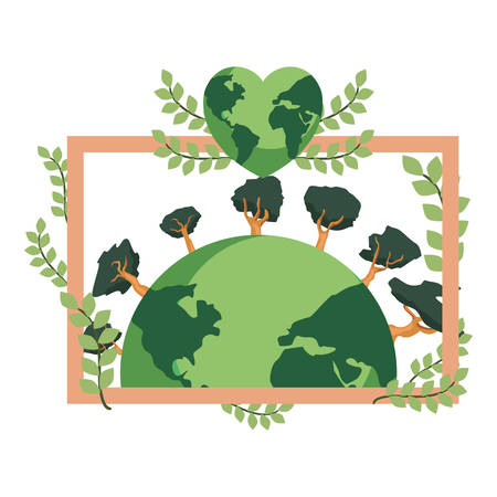 world with trees heart frame leaves earth day vector illustration