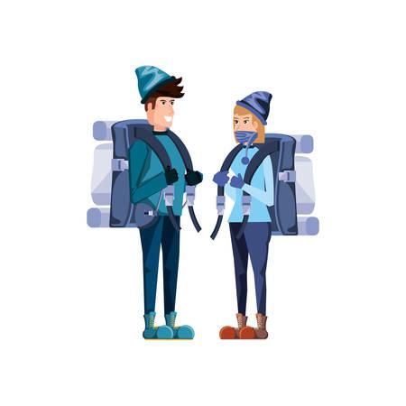 couple traveler avatar character vector illustration design