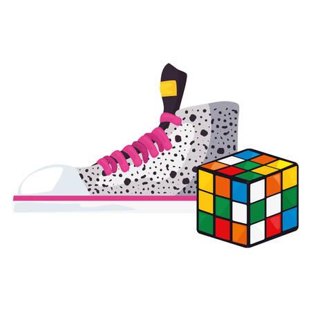 cube rubik sneaker retro 80s style vector illustration Çizim