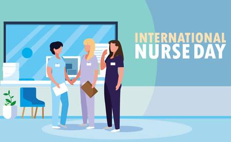 Día internacional de la enfermera grupo de profesionales mujeres, diseño de ilustraciones vectoriales