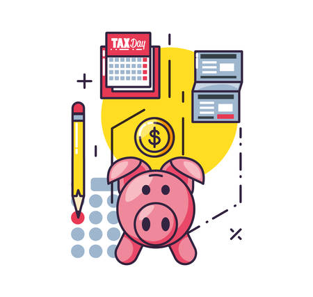 tax day with piggy bank and set icons vector illustration design 向量圖像