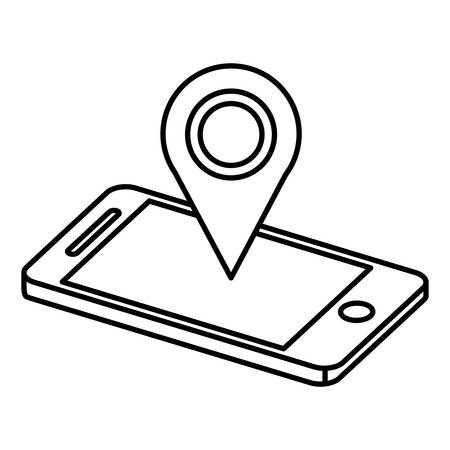 smartphone with pin location vector illustration design