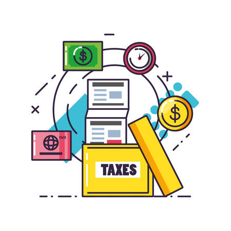 tax day with document and set icons vector illustration design Stok Fotoğraf - 131713428