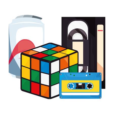 videotape beta cassette cube soda retro 80s style vector illustration Çizim