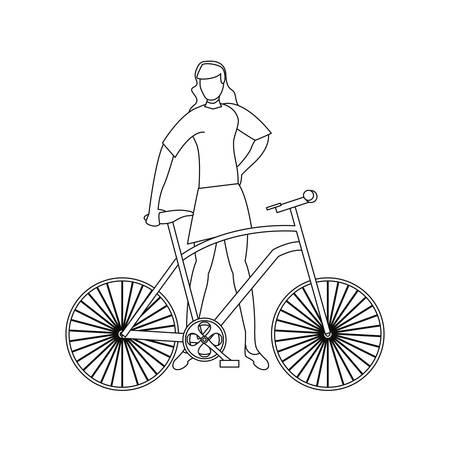 woman with bike outline design vector illustration