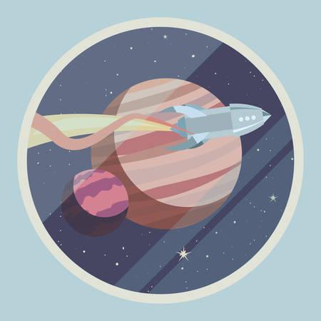 rocket spaceship cosmos planets cartoon vector illustration Çizim
