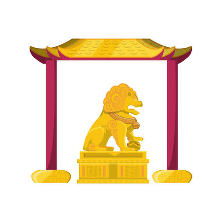 chinese lion statue in gold with portal vector illustration design