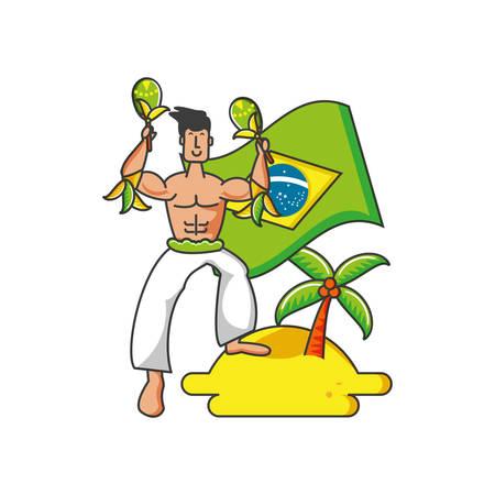 man with flag brazilian in beach vector illustration design Çizim
