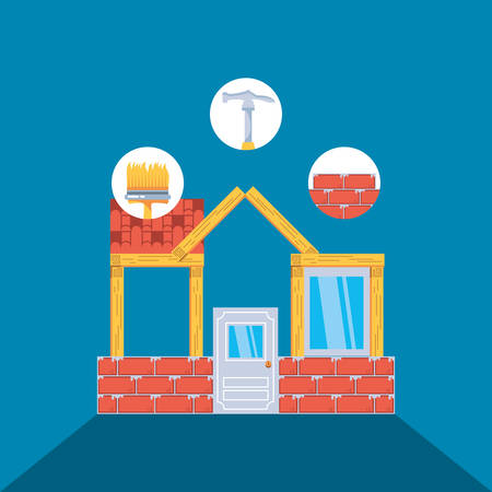 facade of house under construction with set tools vector illustration design
