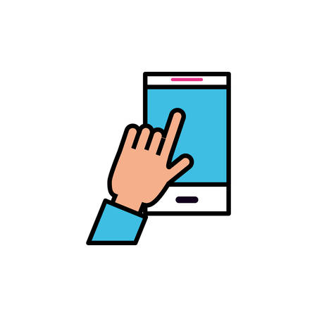 hand user with smartphone device vector illustration design