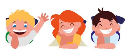 happy little kids characters vector illustration design Ilustração Vetorial