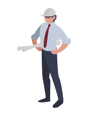 elegant engineer with planes paper vector illustration design