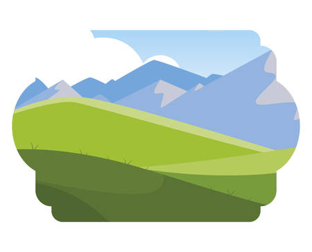 field camp and mountains landscape scene vector illustration design Illustration