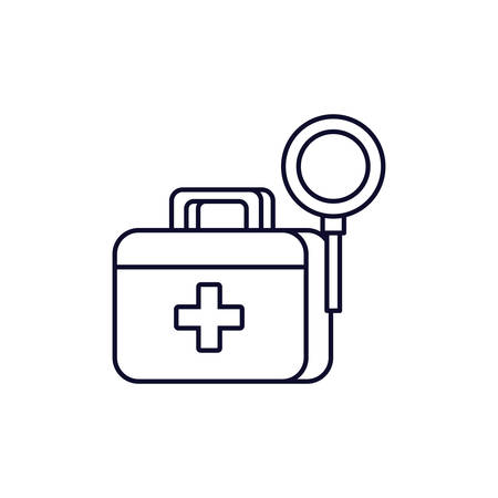 first aid kit with magnifying glass vector illustration design
