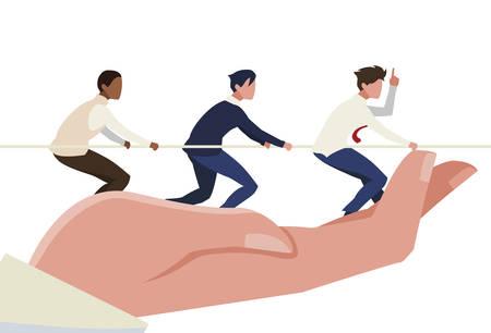 hand lifting teamwork pulling rope vector illustration design Stock Illustratie