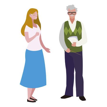 teachers couple avatars characters vector illustration design  イラスト・ベクター素材