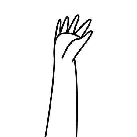 raised hand showing fingers palm vector illustration
