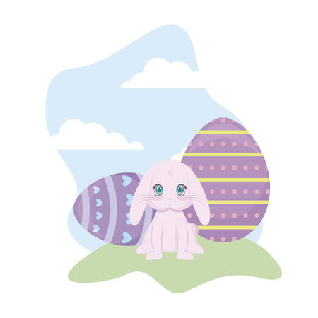 cute rabbit with eggs of easter in grass vector illustration design Stock Illustratie
