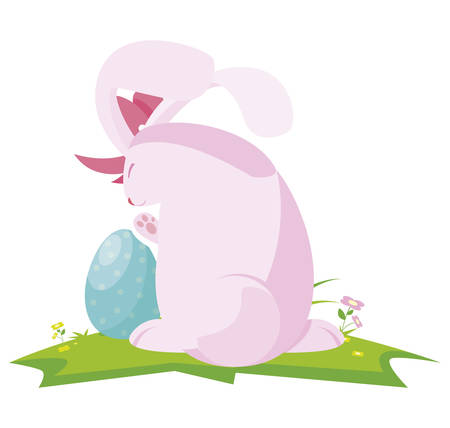 cute rabbit easter female with egg painted in the camp vector illustration design Stock Illustratie