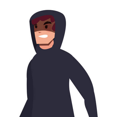 hacker man character thief vector illustration design