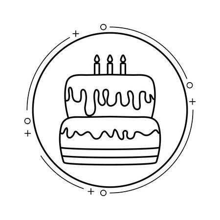 cake of birthday in frame circular vector illustration design Çizim