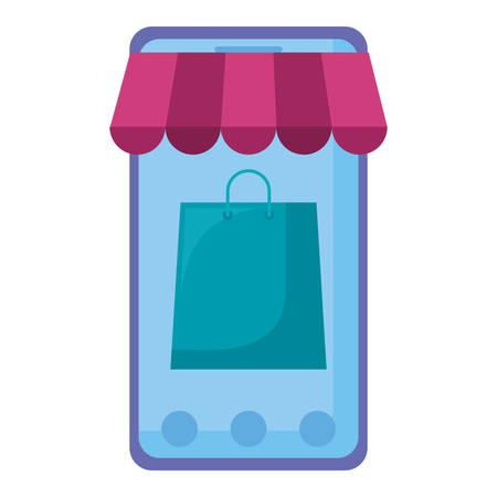 smartphone with parasol and shopping bag vector illustration design Illustration