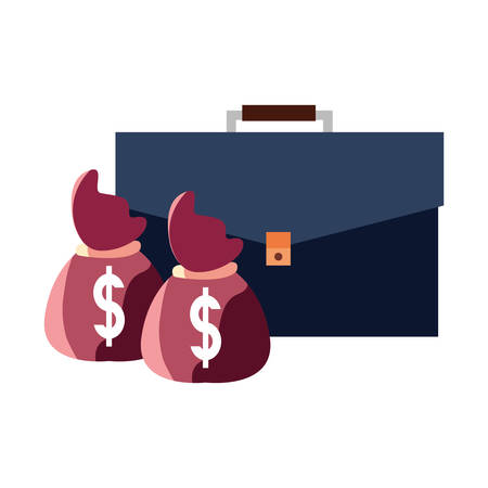 suitcase money bags dollar business vector illustration