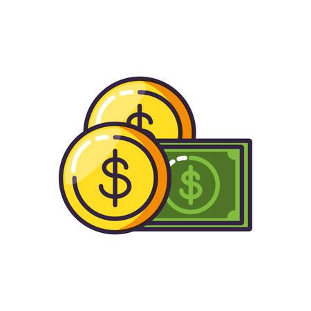 coin dollar with bill dollar vector illustration design