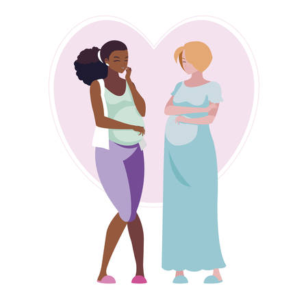 interracial couple of pregnancy women in heart vector illustration design Illustration