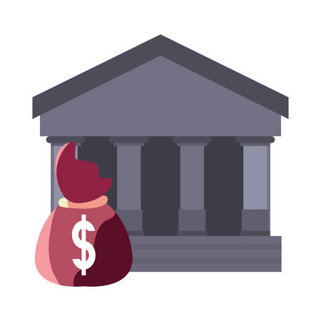 bank money bag on white background vector illustration Stock Illustratie