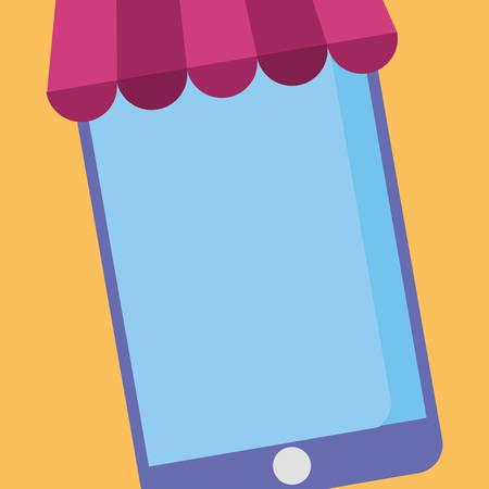 smartphone with parasol icon vector illustration design Illustration