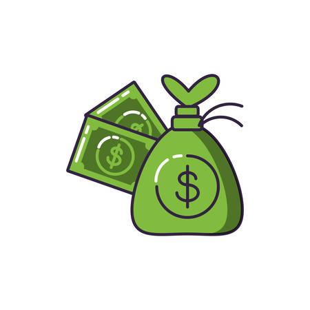 money bag with bills dollar vector illustration design