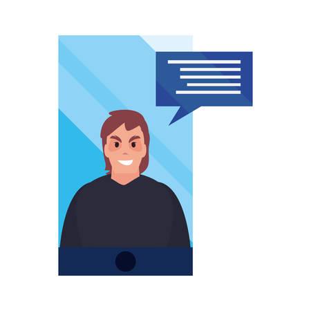 hacker man smartphone cybersecurity data protection vector illustration Illustration
