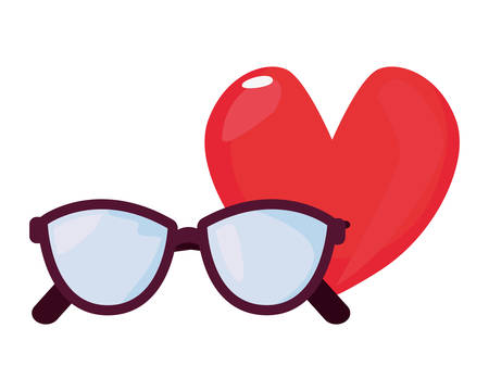 eyeglasses love heart happy fathers day vector illustration