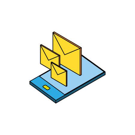 smartphone with envelopes mail vector illustration design Archivio Fotografico - 129144363
