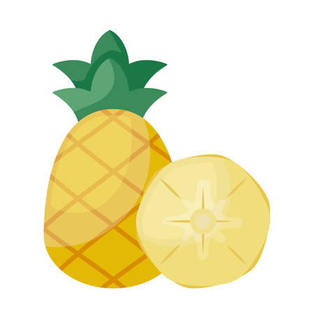 fresh pineapple with slice isolated icon vector illustration design