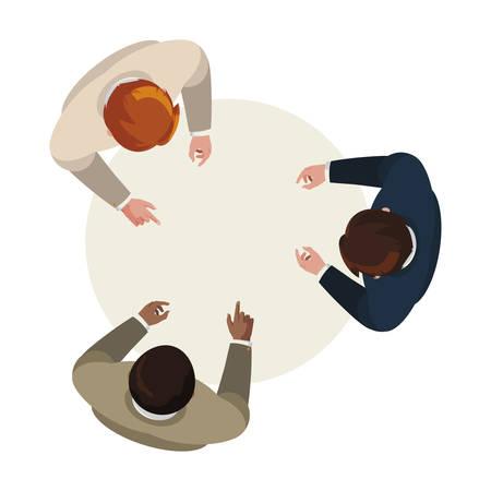 businessmen group teamwork in table circular vector illustration design