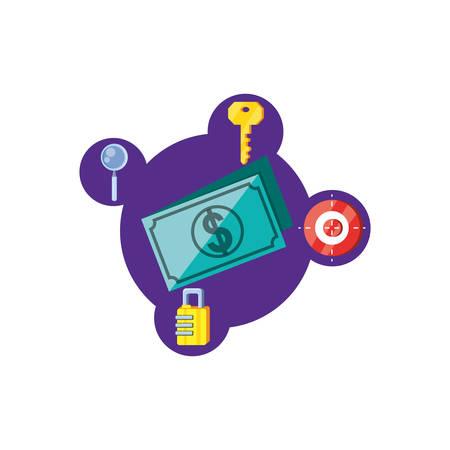 bills dollars with security icons vector illustration design Stock Illustratie