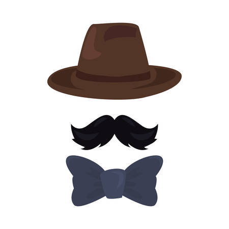 hat mustache bow tie happy fathers day vector illustration Stock Illustratie
