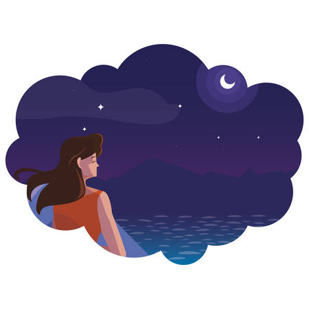 woman contemplating horizon in lake and mountains at night vector illustration