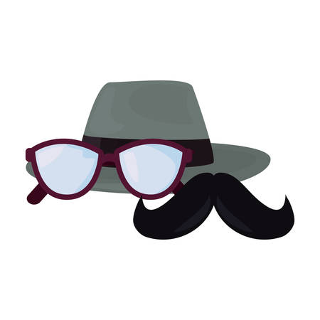 hat mustache eyeglasses happy fathers day vector illustration
