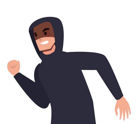 hacker man character thief vector illustration design