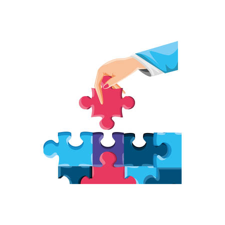 hand with set of puzzle pieces isolated icon vector illustration design Ilustrace