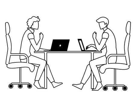 couple of businessmen seated in the office scene vector illustration design Stock Illustratie