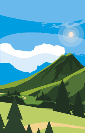 mountains green landscape scene vector illustration design
