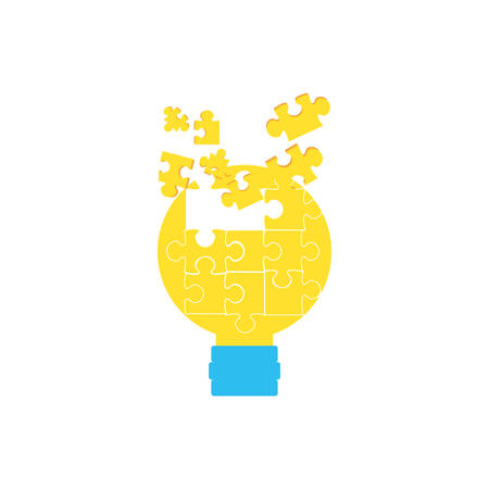 puzzles pieces in shape light bulb vector illustration design