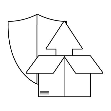cardboard box shield secure fast delivery vector illustration