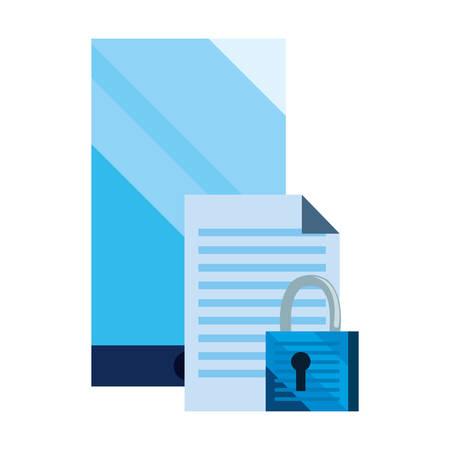 smartphone document padlock cybersecurity data protection vector illustration Illustration
